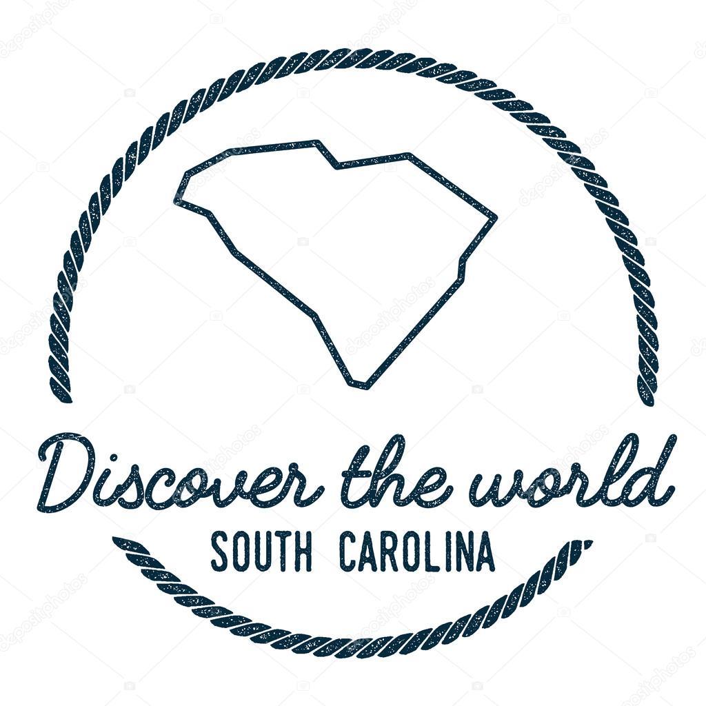 South Carolina Map Outline Vintage Discover The World Rubber Stamp