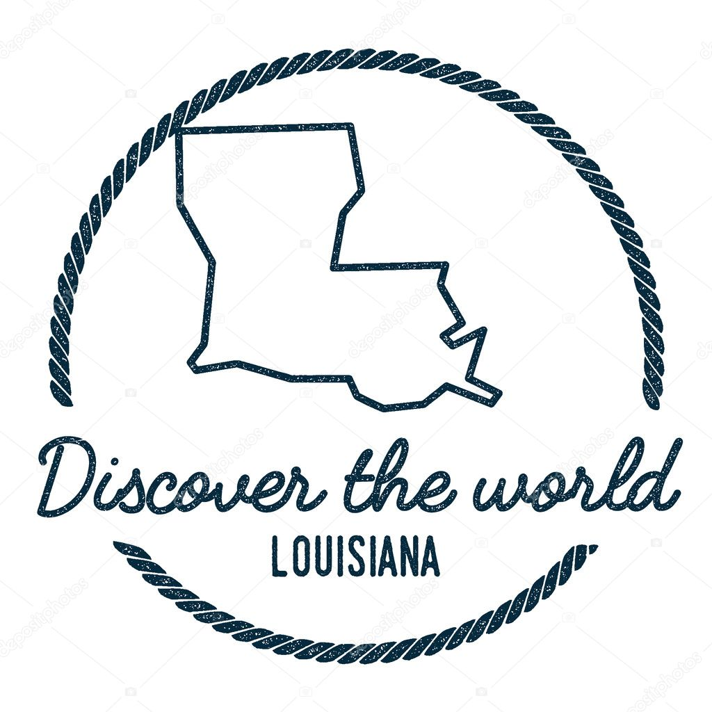 Louisiana Map Outline Vintage Discover The World Rubber Stamp With