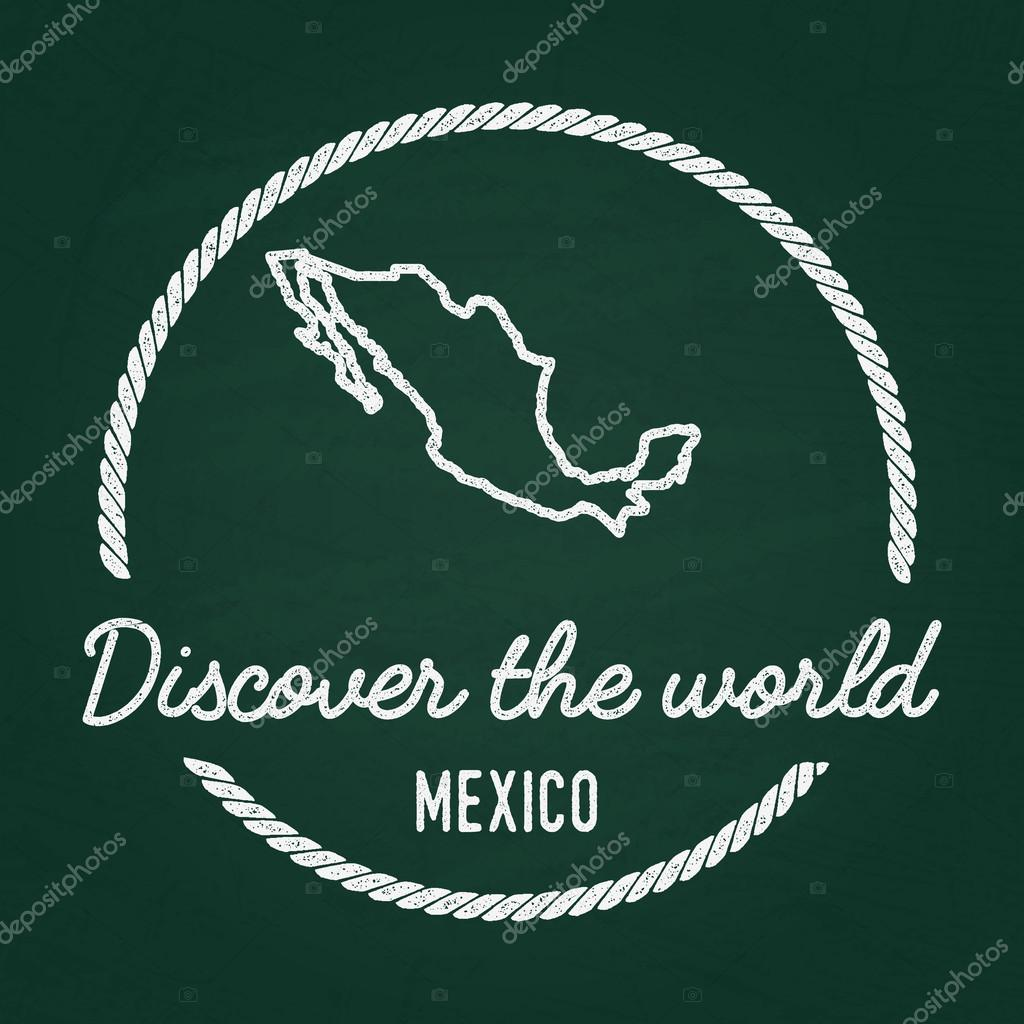 White chalk texture hipster insignia with United Mexican States map ...