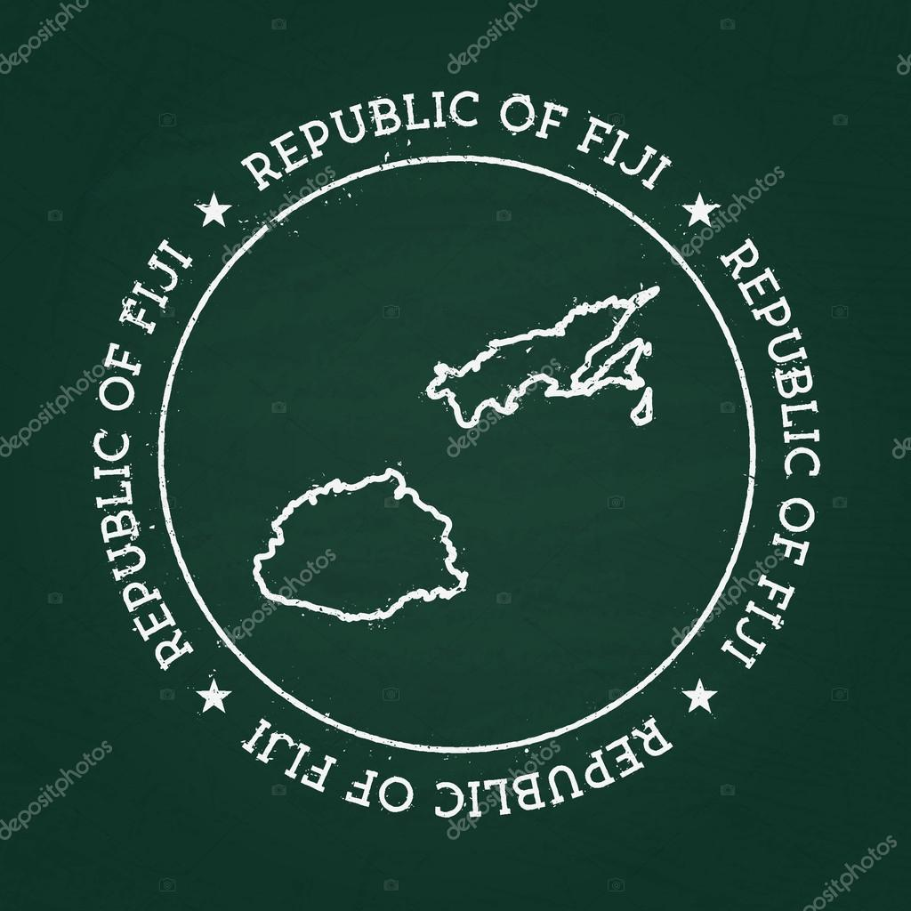 White Chalk Texture Rubber Seal With Republic Of Fiji Map On A - Republic of fiji map