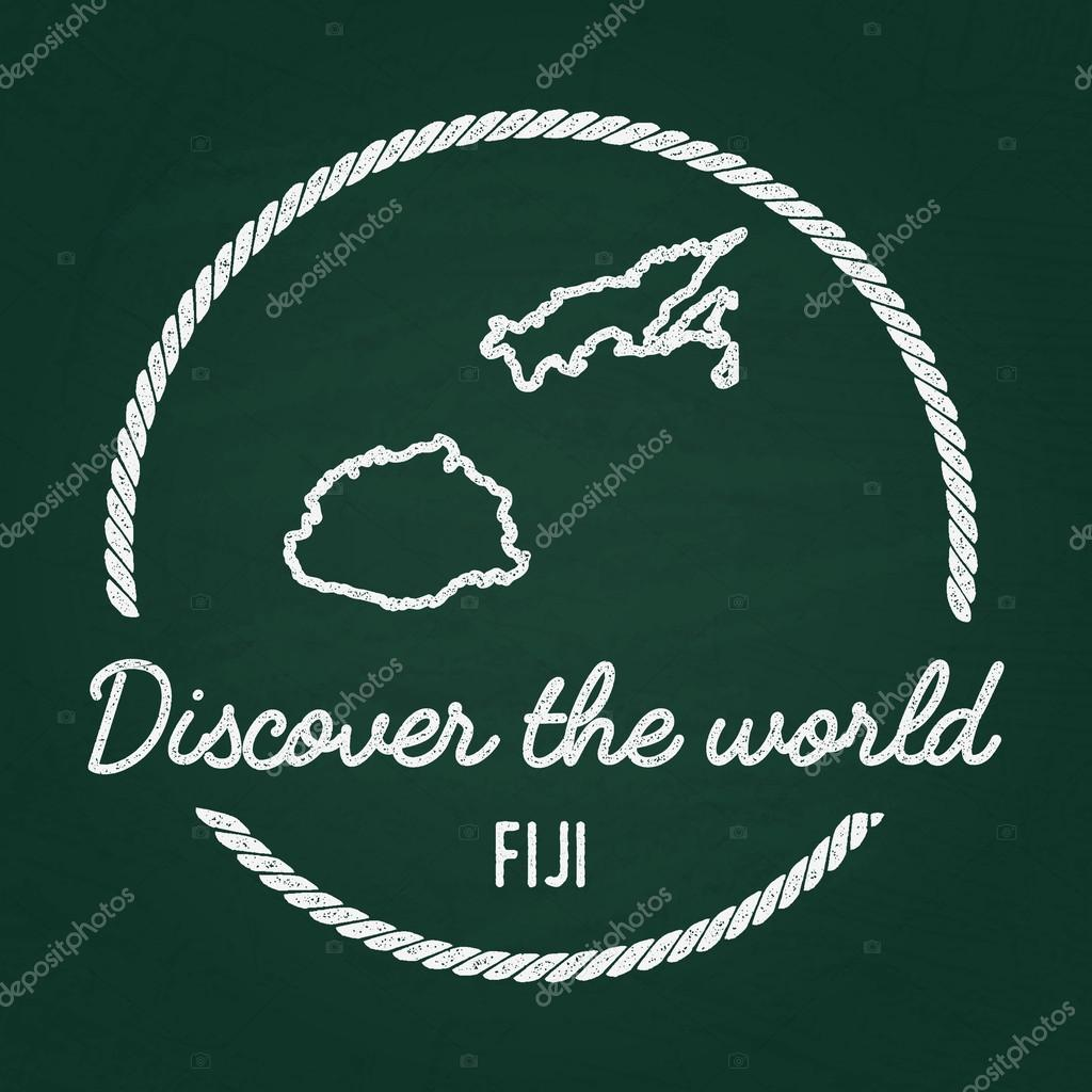 White Chalk Texture Hipster Insignia With Republic Of Fiji Map On - Republic of fiji map