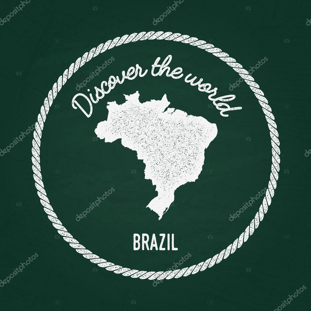 White Chalk Texture Vintage Insignia With Federative Republic Of - Federative republic of brazil map
