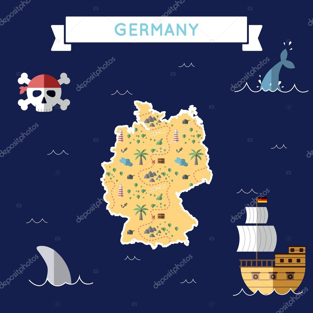 Une Carte Au Tresor En Allemand.Carte Au Tresor Plane De L Allemagne Image Vectorielle