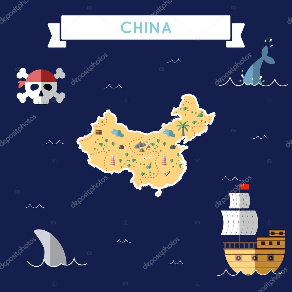 Mapa plano tesoro de China — Vector de stock © DoozyDo #128480400