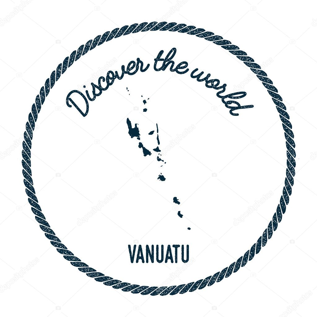 Vintage Discover The World Rubber Stamp With Vanuatu Map Stock - Vanuatu map download