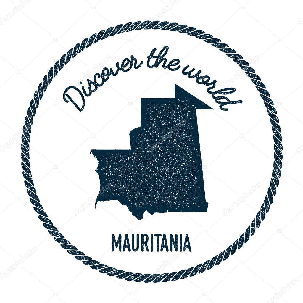 Vintage Discover The World Rubber Stamp With Mauritania Map - Mauritania map download