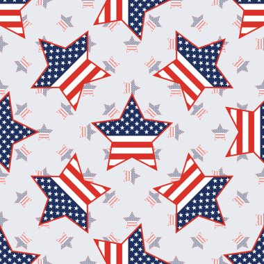 USA patriotic stars seamless pattern on american stars background.