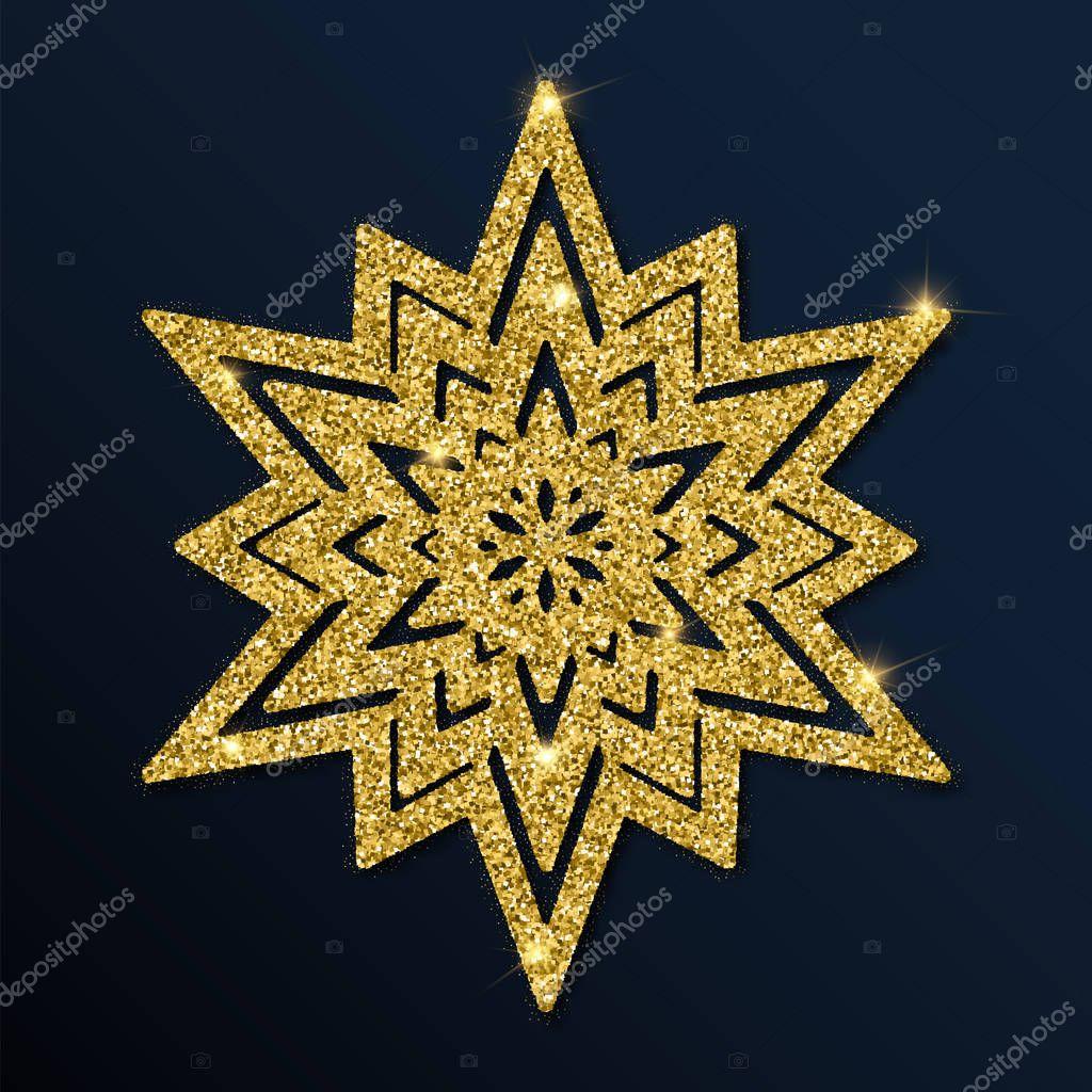 Golden glitter admirable snowflake.