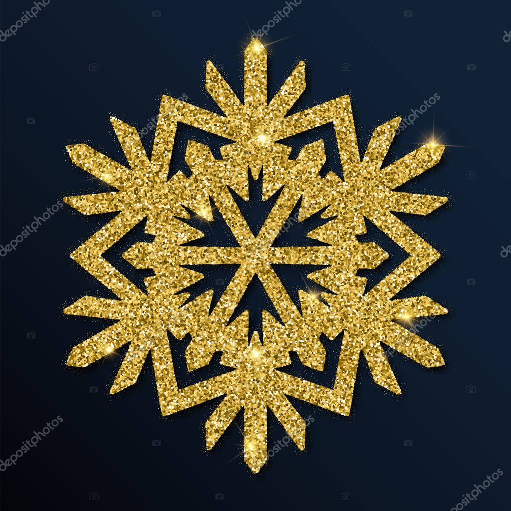 Golden glitter charming snowflake.