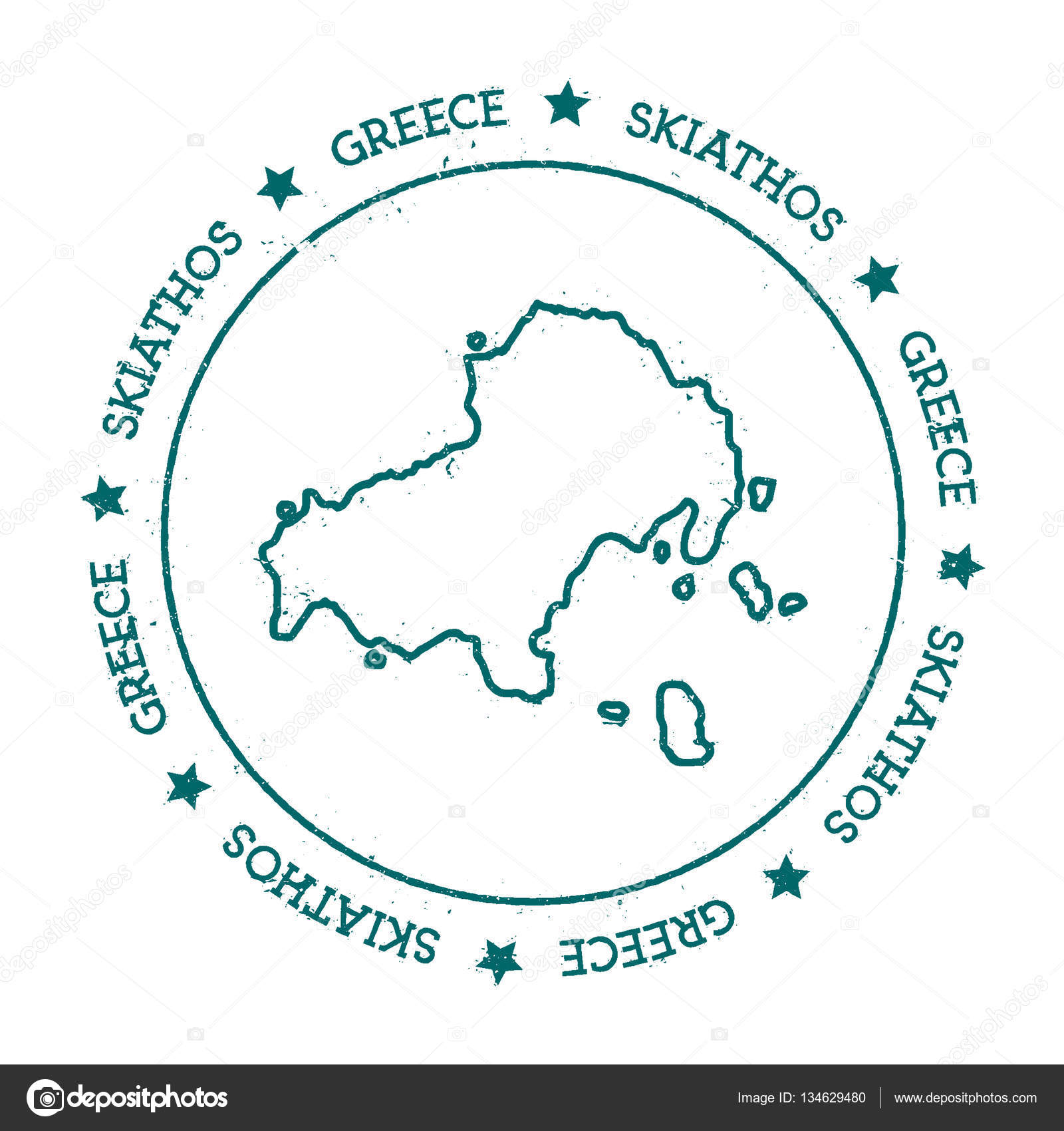 Skiathos vector map Distressed travel stamp with text wrapped around