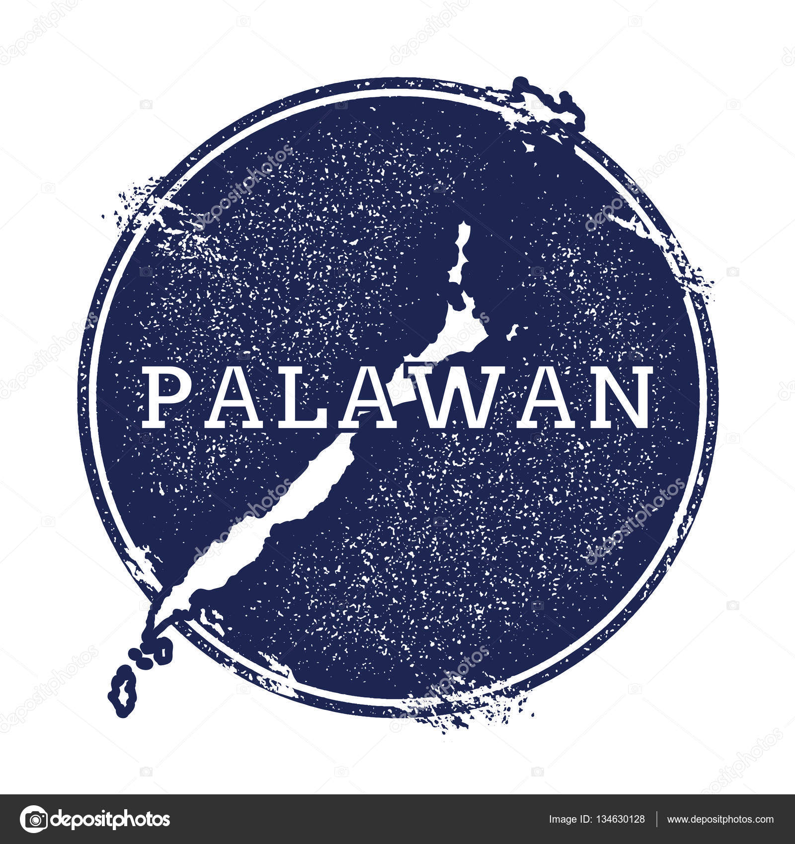 Palawan vector map Grunge rubber stamp with the name and map