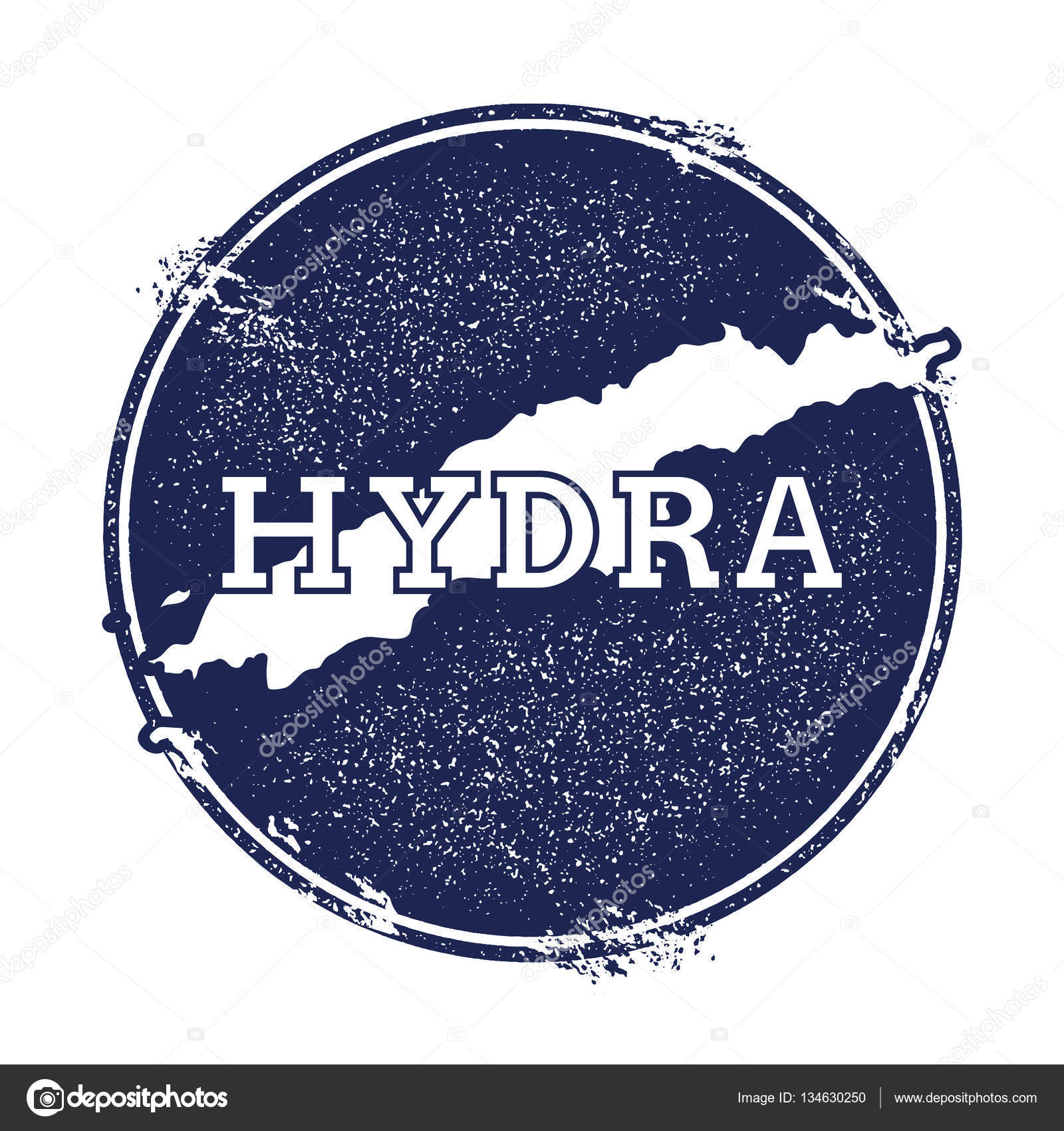 Hydra vector map Grunge rubber stamp with the name and map