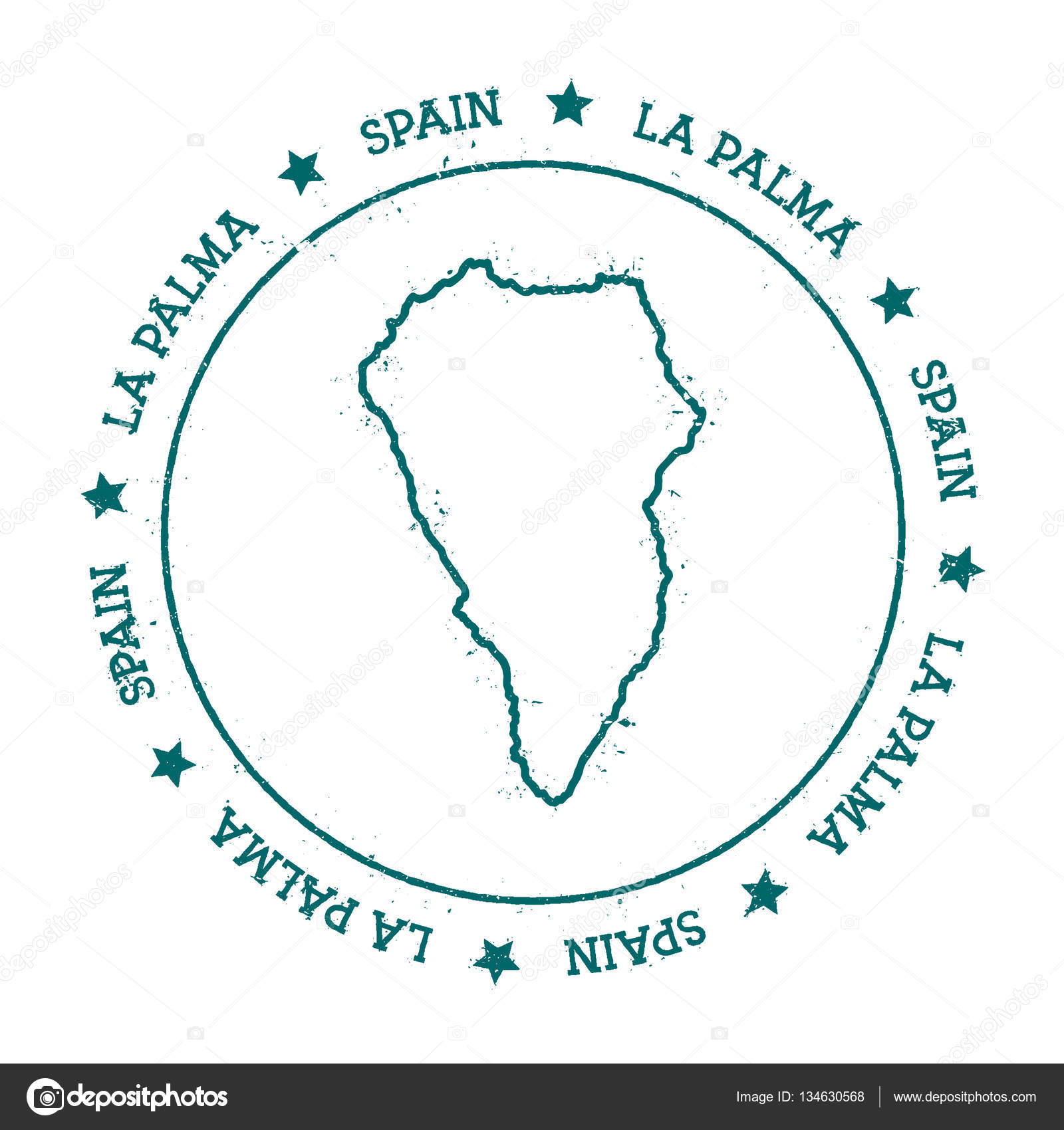 La Palma vector map Distressed travel stamp with text ...