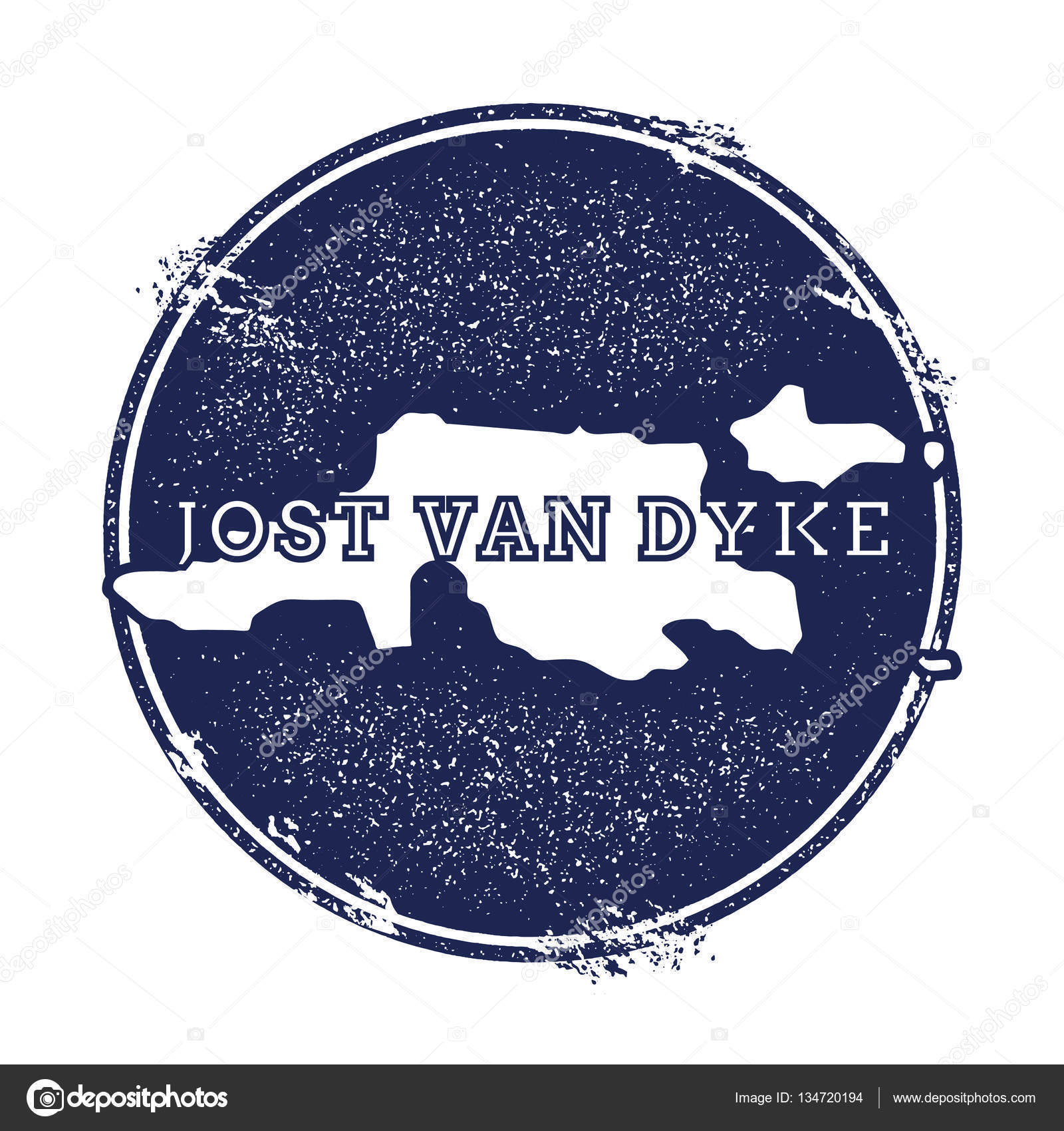 Jost Van Dyke vector map Grunge rubber stamp with the name and map