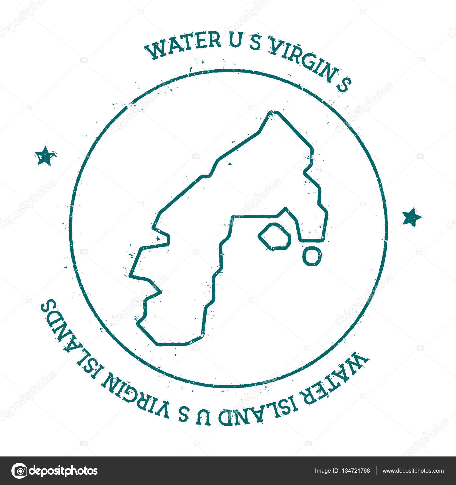 Water Island US Virgin Islands vector map Distressed travel stamp ...