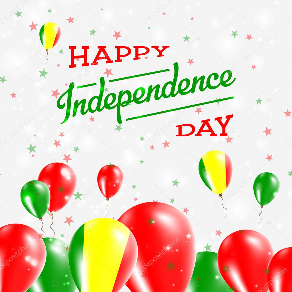 Mali Independence Day Patriotic Design Balloons in National Colors of the Country Happy