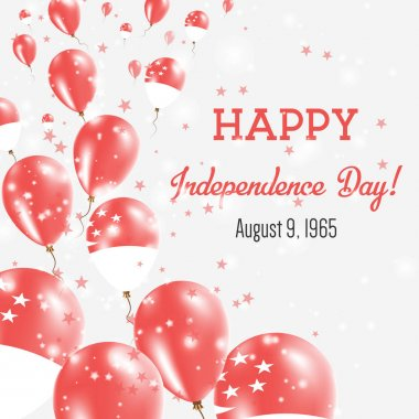 Singapore Independence Day Greeting Card Flying Balloons in Singapore National Colors Happy
