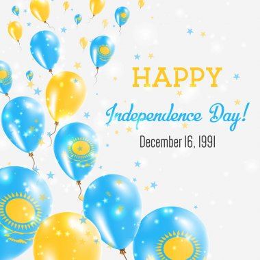 Kazakhstan Independence Day Greeting Card Flying Balloons in Kazakhstan National Colors Happy