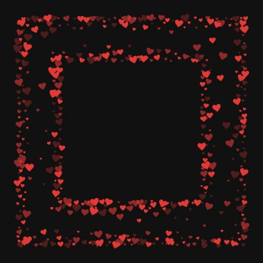 Red hearts confetti Square chaotic frame on black valentine background Vector illustration