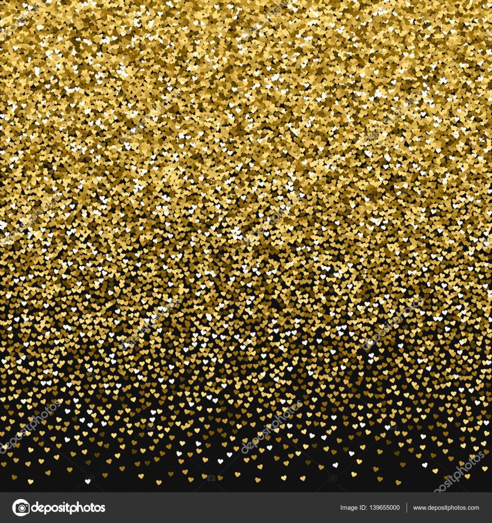 Glitter dourado feita de corações Top gradiente no plano de fundo preto dos namorados ilustração ...