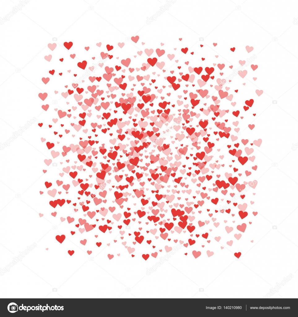 Rote Herzen Konfetti quadratischen Rahmen auf weißen Valentinstag ...