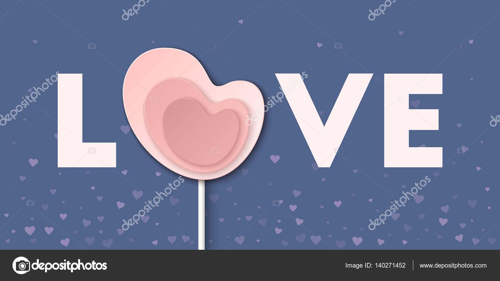 Pink Love Word With Heart Lollipop Greeting Card Vector Illustration