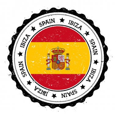 Ibiza flag badge Vintage travel stamp with circular text stars and island flag inside it Vector