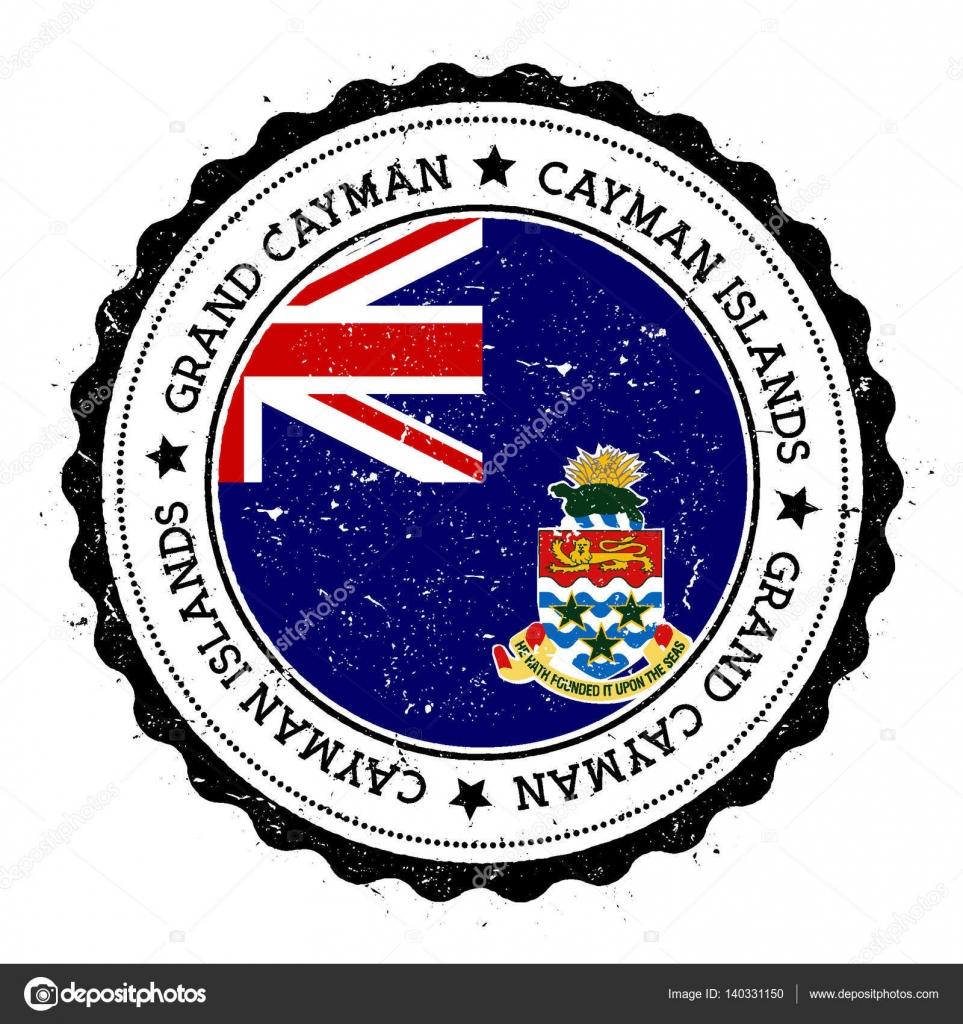 Gran caim n bandera insignia sello de viaje vintage con estrellas texto circular y bandera - Banera de viaje ...
