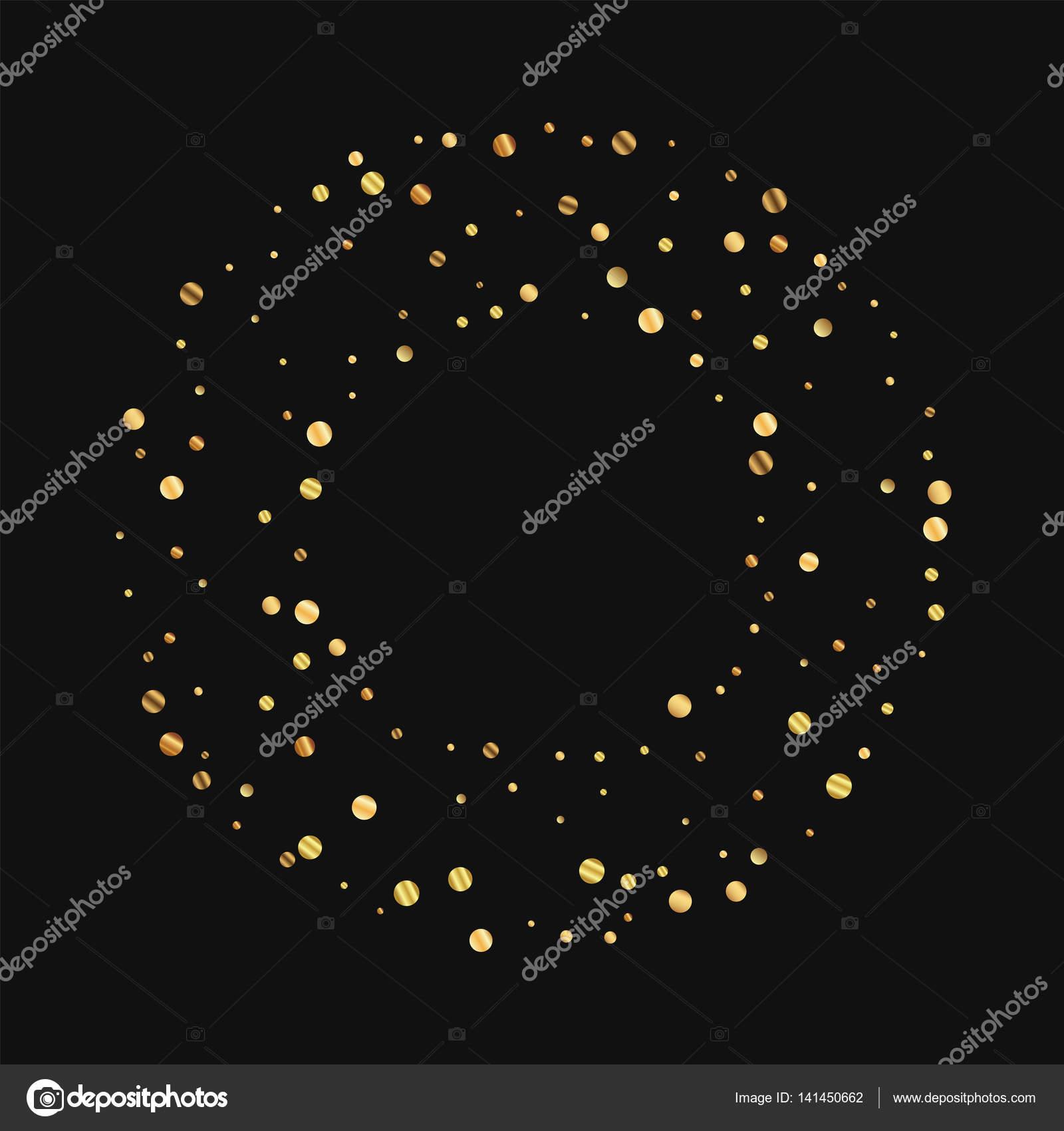 Spärlich gold Konfetti Runde Bagel Rahmen auf schwarzem Hintergrund ...