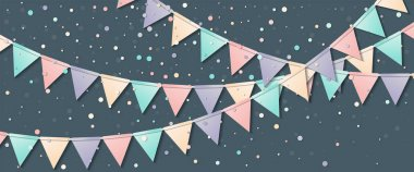 Bunting flags Cool celebration card with colorful paper bunting flags and confetti Party