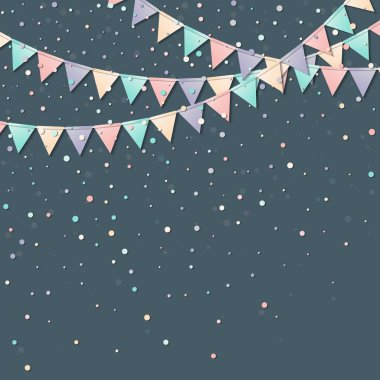 Bunting flags Gorgeous celebration card with colorful paper bunting flags and confetti Party