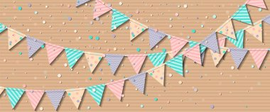 Bunting flags Fine celebration card with colorful paper bunting flags and confetti Party