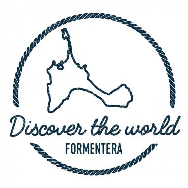 Formentera Map Outline Vintage Discover the World Rubber Stamp with Island Map Hipster Style