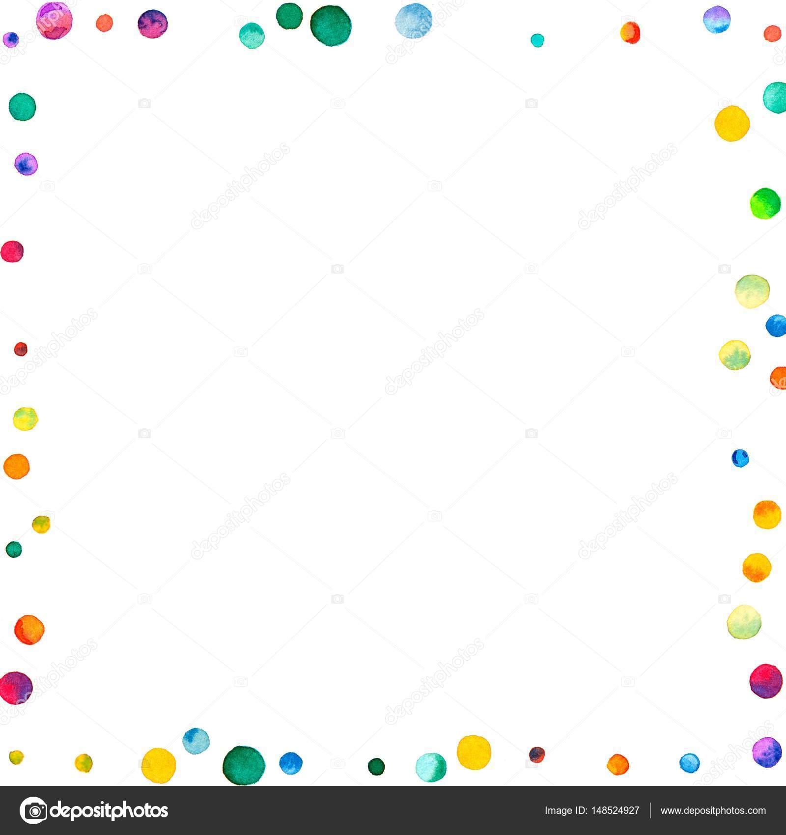 Confeti de acuarela escaso marco caótico de fondo blanco arco iris ...