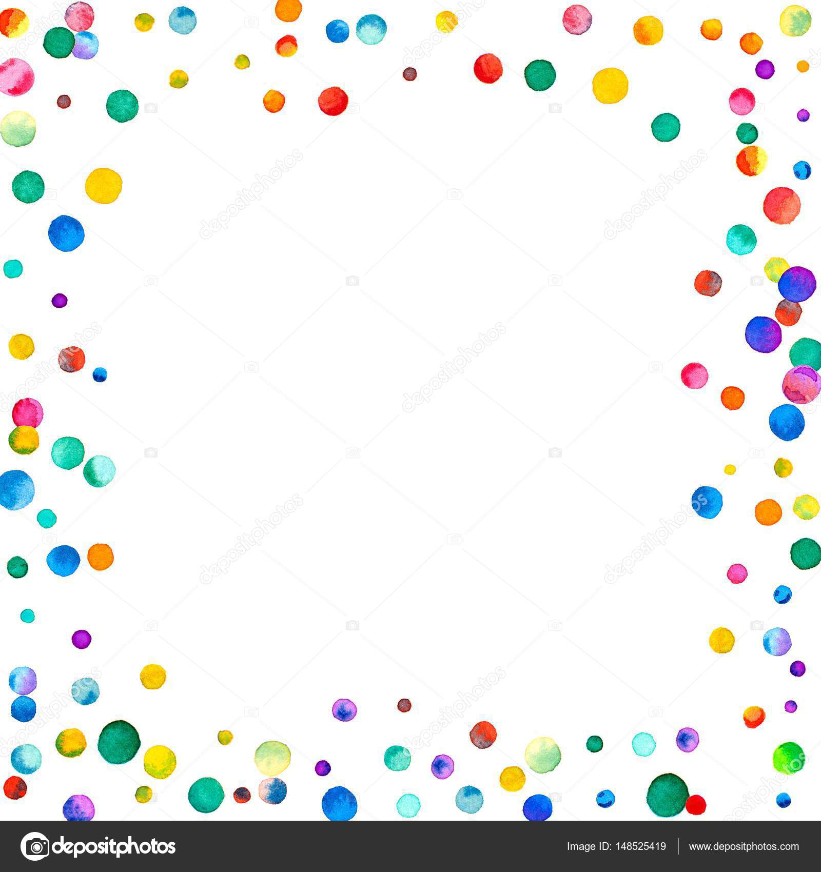 White Backgrounds With Colorful Borders Sparse watercol...