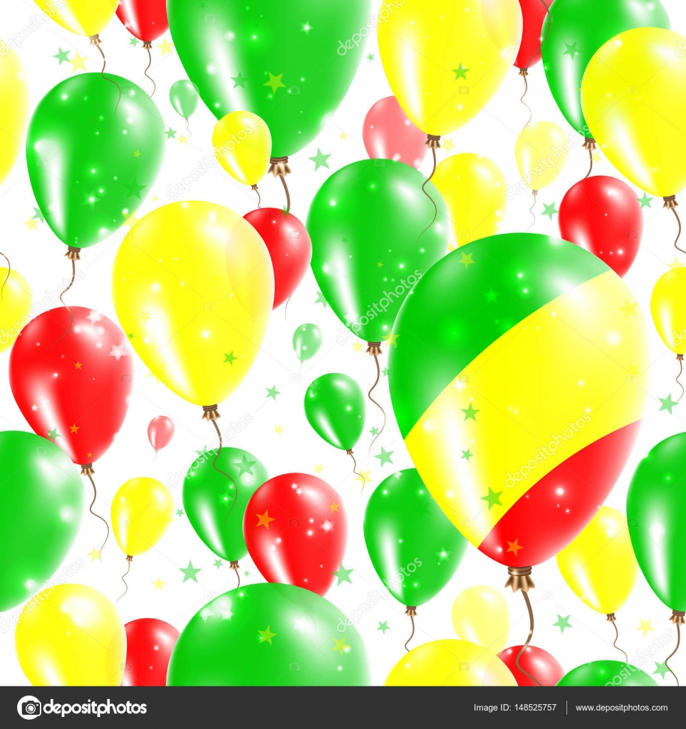 Congo Independence Day Seamless Pattern Flying Rubber Balloons In - Congo independence day
