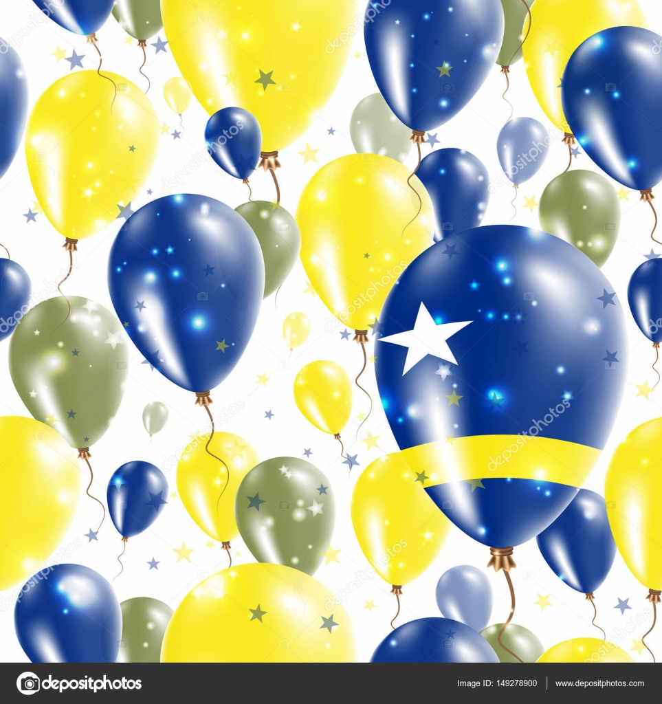 curacao independence day seamless pattern flying rubber balloons