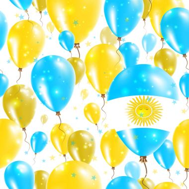 Argentina Independence Day Seamless Pattern Flying Rubber Balloons in Colors of the Argentinean