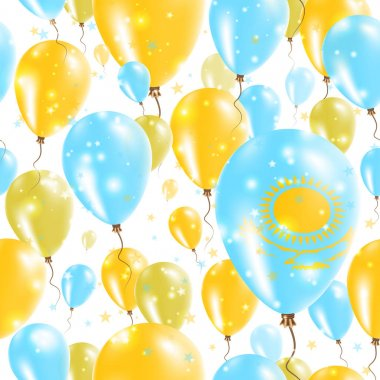 Kazakhstan Independence Day Seamless Pattern Flying Rubber Balloons in Colors of the Kazakhstani