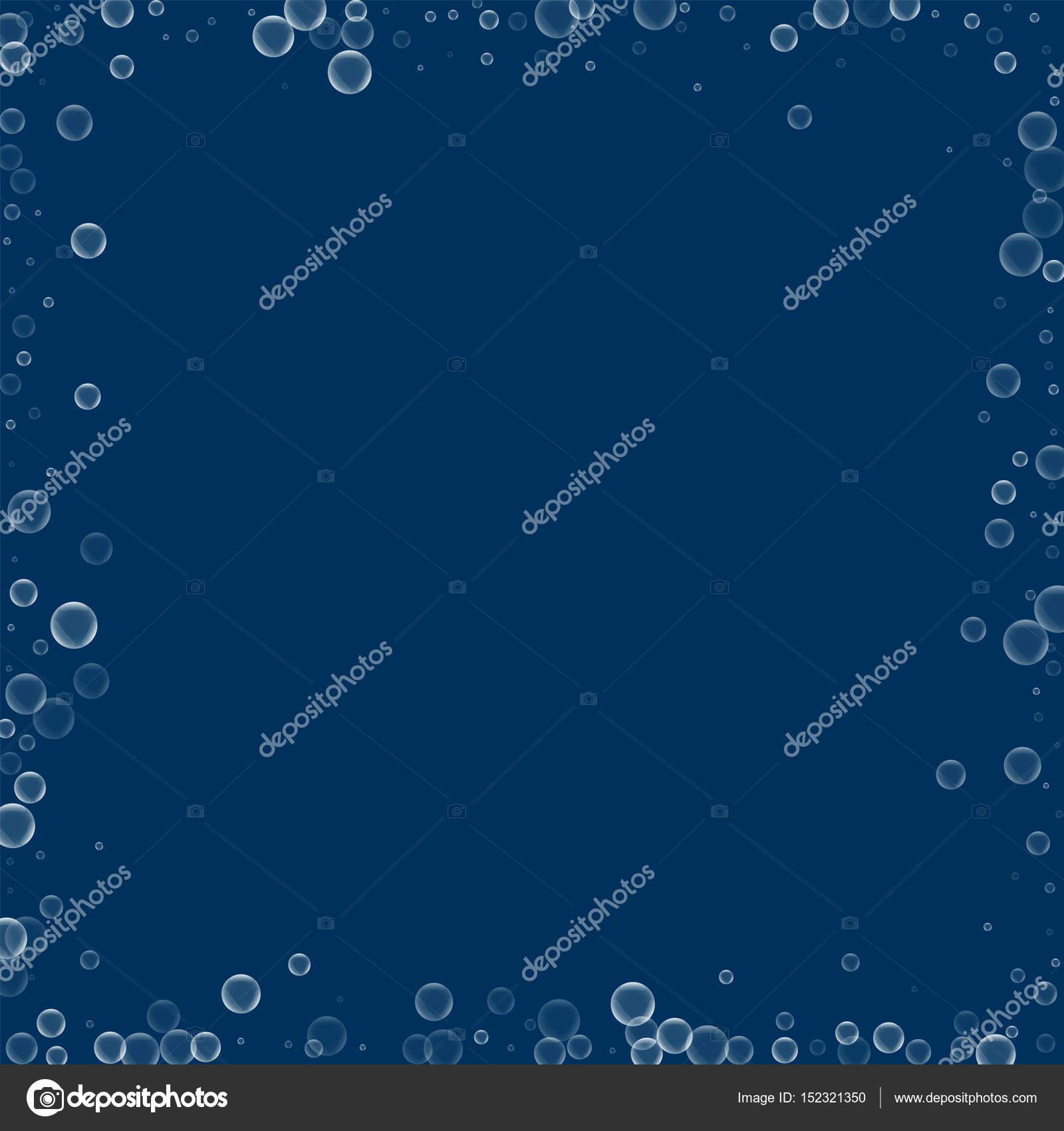 Marco caótico de pompas de jabón con pompas de jabón en el azul ...