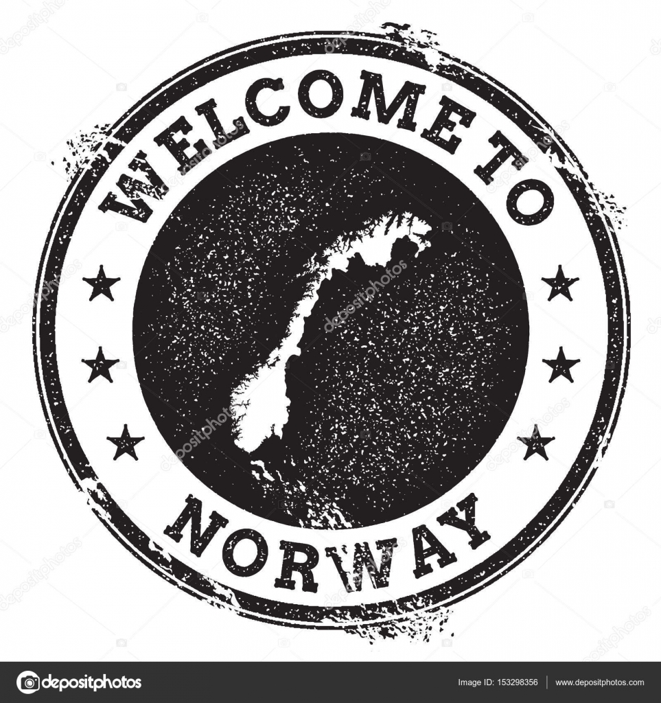 Vintage Passport Welcome Stamp With Norway Map Grunge Rubber To Text