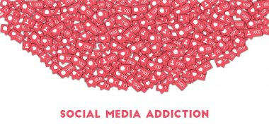Social media addiction Social media icons in abstract shape background with counter comment and
