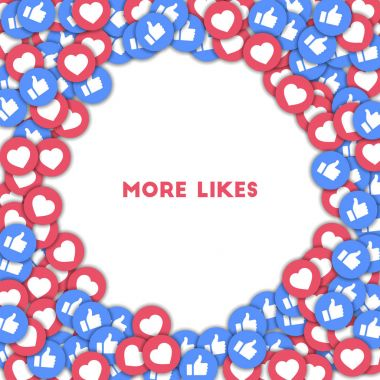 More likes Social media icons in abstract shape background with scattered thumbs up and hearts