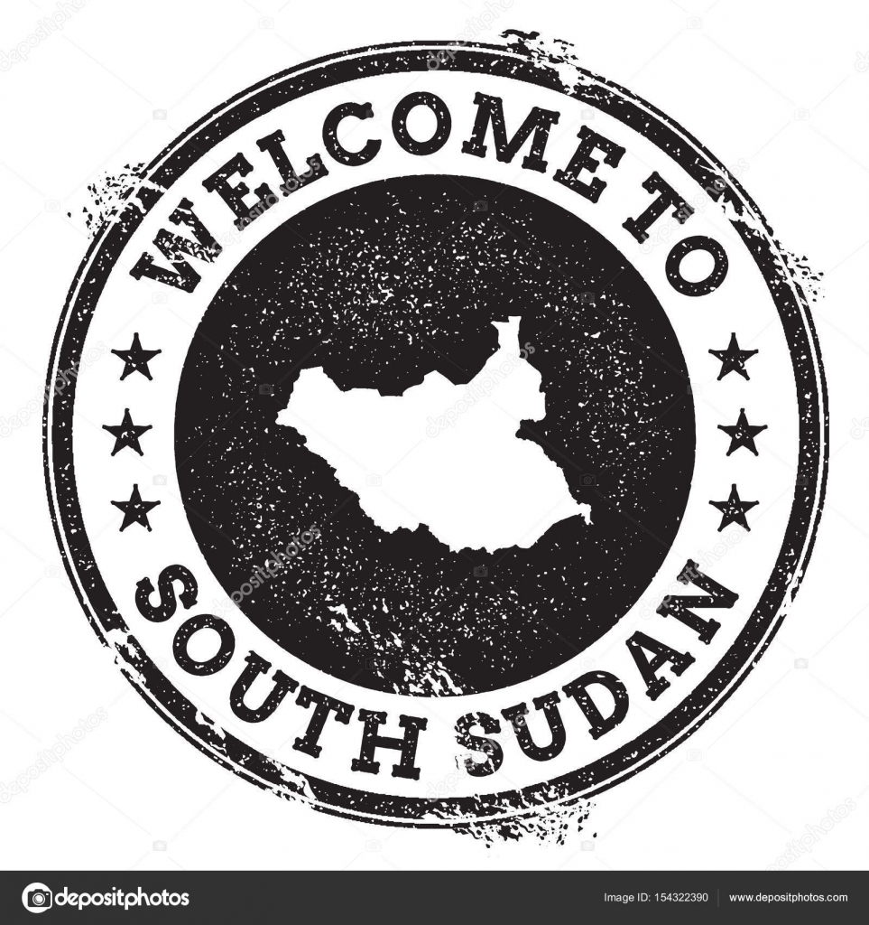Vintage passport welcome stamp with South Sudan map Grunge