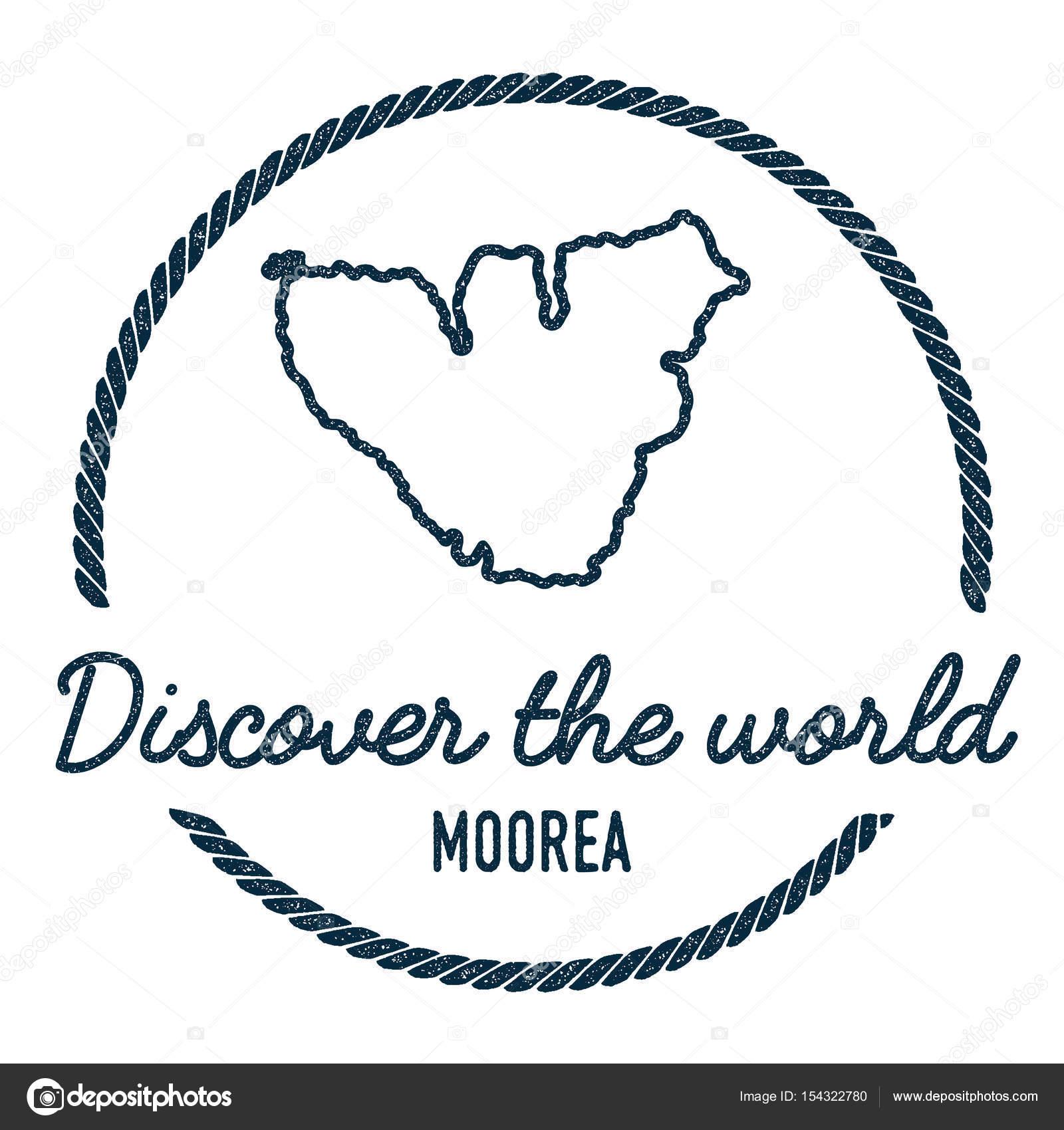 Moorea Map Outline Vintage Discover The World Rubber Stamp
