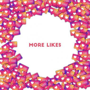 More likes Social media icons in abstract shape background with gradient counter More likes
