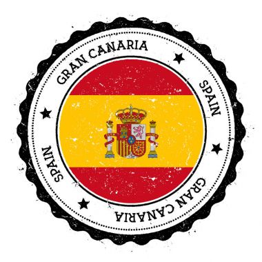Gran Canaria flag badge Vintage travel stamp with circular text stars and island flag inside it