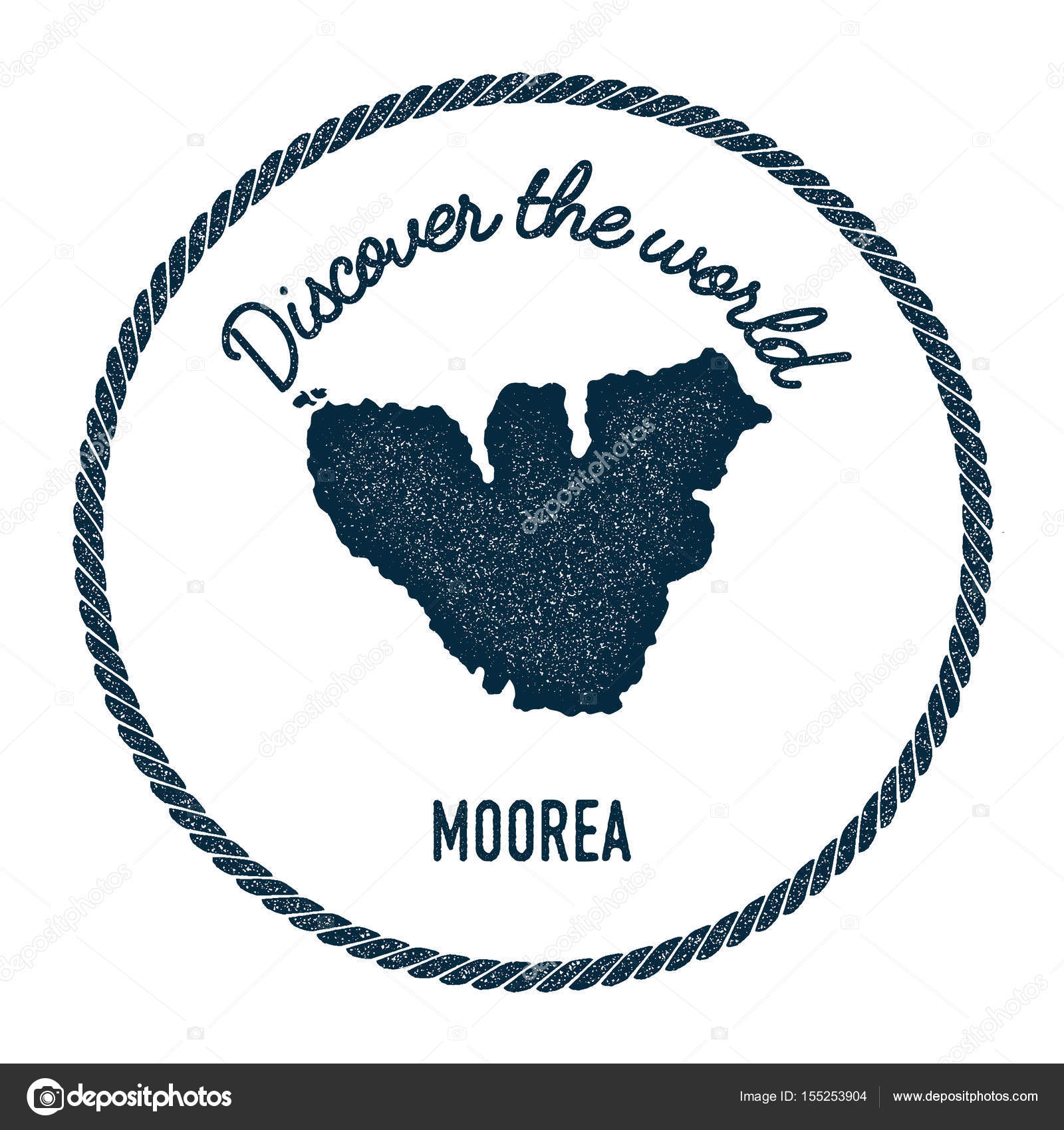 Moorea Map In Vintage Discover The World Insignia Hipster