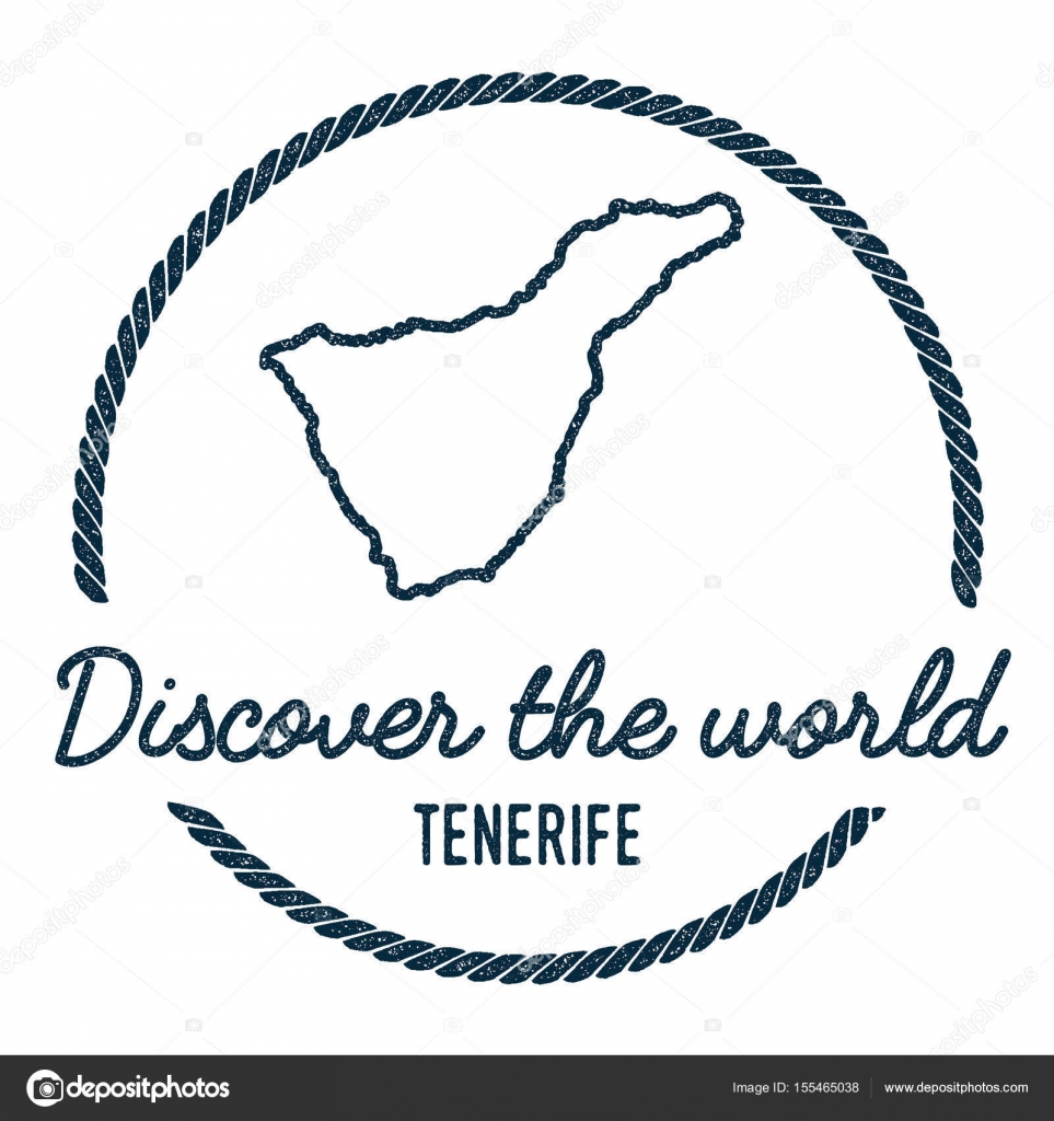 Tenerife Map Outline Vintage Discover the World Rubber Stamp with ...