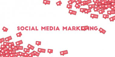 Social media marketing Social media icons in abstract shape background with pink counter Social